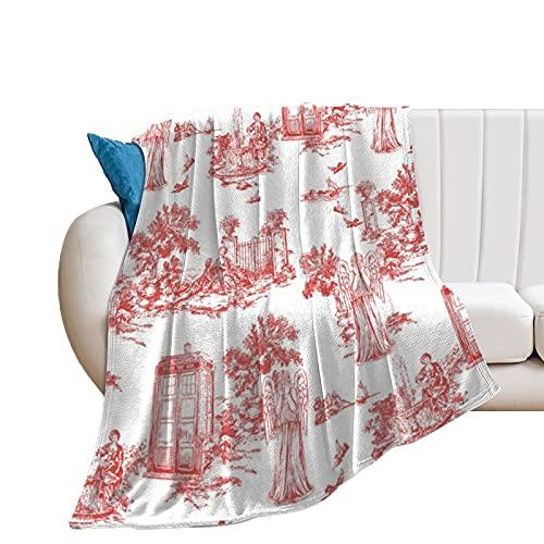 Manta de forro polar de franela para el hogar, la oficina, el sofá, el camping, los ángeles llorando Toile De Jouy suave y cálida manta de felpa de 130 x 150 cm