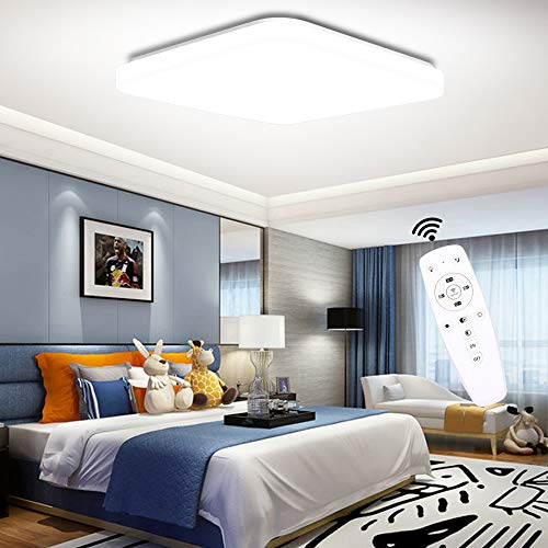 LED Deckenleuchte Dimmbar, Ouyulong LED Deckenleuchte mit Fernbedinung, 36W, 3000-6500K, 3600LM,Lichtfarbe und Helligkeit Einstellbar, Lampe für Wohnzimmer,Schlafzimmer, Kinderzimmer, Küche
