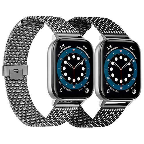 Meliya Correa compatible para Apple Watch de 44 mm, 42 mm, 40 mm, 38 mm, series 6, 5, 4, 3, 2 y 1 SE, correa de metal de malla milanesa de acero inoxidable 42/44mm 4Negro+Gris