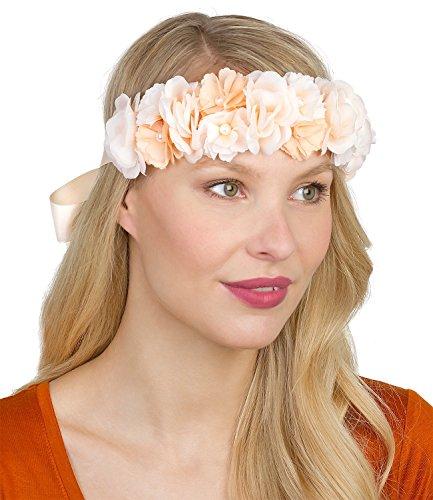 SIX Breiter Blumenkranz in Apricot: Haarschmuck mit zarten Stoff-Blumen und kleinen Perlen, mit Satinband zum einfachen Binden im Nacken, Bl (456-272)
