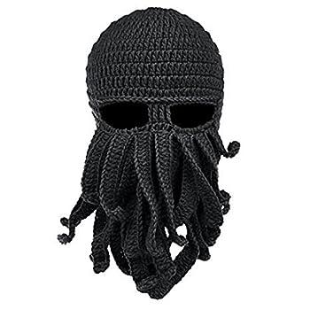 Tentacle Octopus Cthulhu Knit Hat Beard Beanie Windproof Ski Cap Mask Black