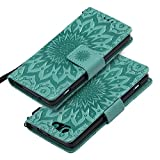 EINFFHO - Funda para Sony Xperia Z3 Mini (piel sintética, función atril, ranuras para tarjetas, cierre magnético), color verde