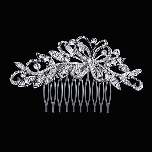 Txian - Fermaglio a pettine per decorare i capelli, motivo floreale con brillantini di cristallo, per spose o damigelle d'onore