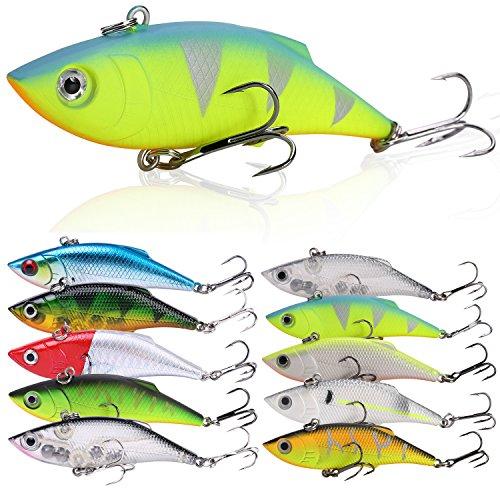 Sougayilang Fishing Lures Swimbait Vibe Crankbaits for Trout Bass Perch Musky Walleye Fishing-Style-F 10Pcs