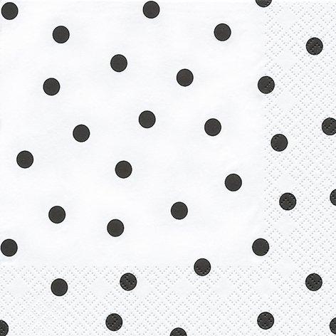 20 Servietten Schwarze Punkte auf weiß/gepunktet/Muster/zeitlos 33x33cm