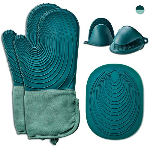 EUNA Silicone Oven Mitts, Heat Resistant Oven Mitts and Pot Holders Sets, Non-Slip Kitchen Mittens with Mini Oven Gloves and Hot Pads for Baking Cooking, Quilted Liner, Gift Box, Dark Green & Teal