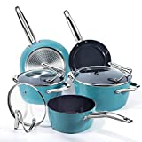 REDMOND Nonstick Cookware Set, 8 Piece Ceramic Aluminum Pans and Pots Set with Glass Lid and Stay...