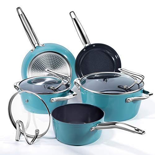 REDMOND Nonstick Cookware Set, 8 Piece Ceramic Aluminum Pans and Pots Set with Glass Lid and Stay Cool Handle for Stovetops, Induction Cooktops, Dishwasher/Oven Safe, Turquoise Blue,CS004