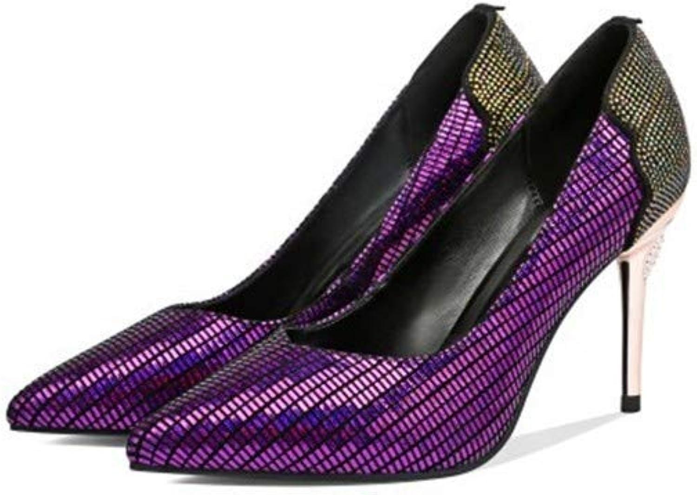 Sandalen Europische Und Amerikanische Damen Leder 8Cm Spitze Metall Stiletto Flachen Mund Mode Hochhackige Schuhe