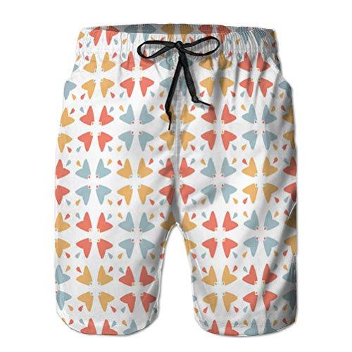 jiilwkie Men's Beach Shorts 3D Printed Swim Trunks Graphic Geometric Mosaic Check Grid ab XL
