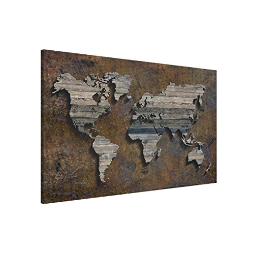 Bilderwelten Magnettafel - Holz Rost Weltkarte - Memoboard Querformat 2:3, Wandbild Magnettafel Pinnwand Magnetboard Magnetpinnwand Magnetwand Stahl Küche Büro, Größe HxB: 60cm x 90cm