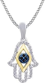 AFFY 1/10 Ct Black & White Natural Diamond Hamsa Pendant Necklace in 14K Gold Over Sterling Silver