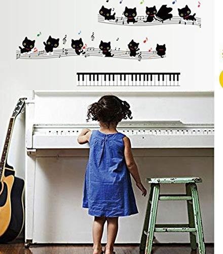 LSDAEER Kwekerij Muursticker Fijne Decor Behang Zelfklevende Zwarte Kat Opmerkingen Muurstickers Piano Kan Verplaatst Stickers PVC Transparant Film Stickers 50 * 70cm