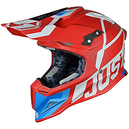 JUST1 J12 Unit Carbon Fiber Shell Off-Road Adult Motorcross Motorcycle helmet (Flat White, Carbon Unit Red White-Small)