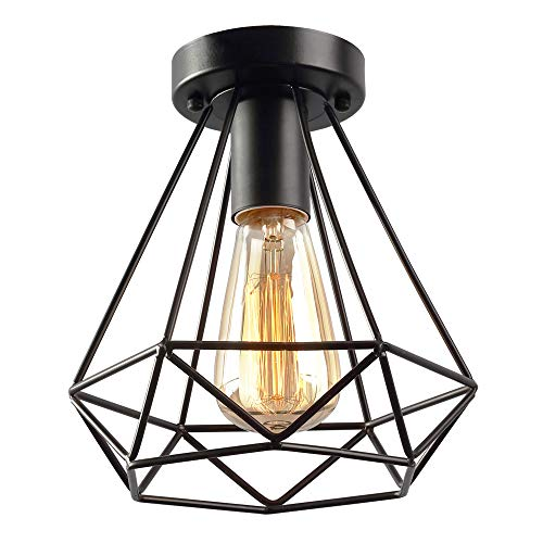 KOONTING Vintage Industrial Rustic Flush Mount Ceiling Light, Metal Pendant Lighting Lamp Fixture for Hallway Stairway Porch Bedroom Kitchen.