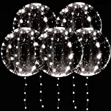 DANIDEER Led BoBo Balloons, 18 Inch 5 PCS Transparent Helium Balloons with STRING LIGHTS 3 Levels Flashing, Light up clear Bubble Balloons for Birthday, Wedding, Christmas and Party Decoration (White Flashing)