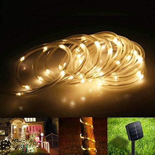 Runaup - Cadena de luz de tubo solar (100 ledes, 12 m, resistente al agua, iluminación decorativa para jardín, balcón, patio, valla, árbol, patio trasero (blanco cálido)