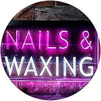 Nails Waxing Beauty Salon Display Dual Color LED看板 ネオンプレート サイン 標識 白色 + 紫 600 x 400mm st6s64-i0358-wp
