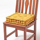 Homescapes gepolstertes Sitzkissen 40 x 40 cm, senfgelb, 10 cm hohes Stuhlkissen mit Bändern,...