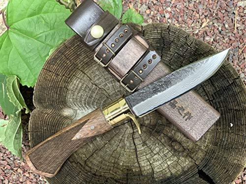土佐アウトドア剣鉈120 黒槌目 真鍮ツバ輪 DM15青2 樫柄オイルステン チェッカー tautodoa-923
