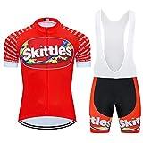 MOXILYN Bike Clothes Kit Men Cycling Jersey Set M&M Bike Suit Funny Bicycle Shirt Zipper + Cycling Bibs with 20D Gel Paded