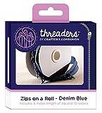 Threaders Zips On Rollo Cremalleras Continuas con 10 Deslizadores para Proyectos de Costura 5 M Dril de Algodón Azul-Denim Blue, Polyester, 10.2 x 5.4 x 10.2 cm