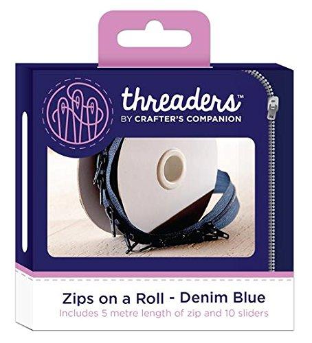 Threaders TH-1041 Zips On A Roll Zip su Un Rotolo Cerniere Continue con 10 Cursori per Progetti di Cucito 5 M Blu-Denim Blue, Polyester, 10.2 x 5.4 x 10.2 cm