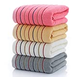 S-L Juego Toallas Toalla de algodón a Rayas Set de Toalla de baño Grueso Grande Cuarto de baño Toalla de Ducha de Cara para niños Adultos (Color : Pink, Size : 3pcs Towel Set)