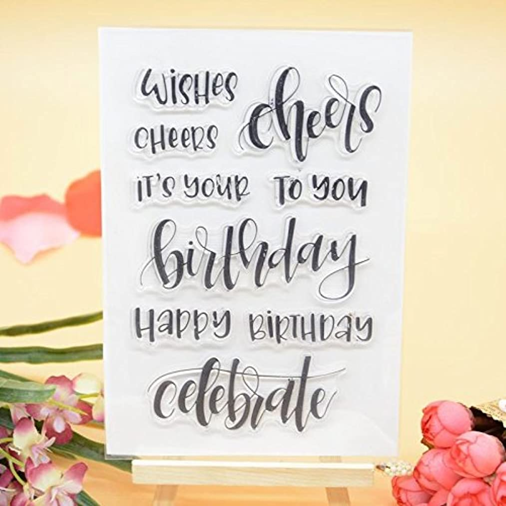 Welcome to Joyful Home 1pc Wishes Cheers Birthday Clear Stamp for Card Making Decoration and Scrapbooking