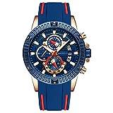 MINI FOCUS Men's Quartz Watches Army Sports Chronograph Wristwatch for Man Luminous Waterpoof Blue Silicone Strap