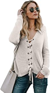 Women's Solid Casual Long Sleeved V-Neck Sweater Lace Up T Shirt