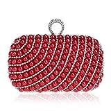 Bolsos Mujer Bolso De Noche De Embrague De Perlas para Mujer Monedero De Moda Bolso De Boda para Mujer con Anillo Bolsos De Cadena De Hombro para Fiesta Rojo