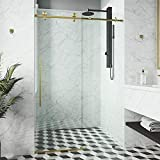 VIGO VG6021STCL7276 3.0' -72.0' W -76.0' H Frameless Sliding Rectangle Shower Door with Clear 0.38' Tempered Glass and Stainless Steel Hardware in Stainless Steel Finish with Reversible Handle