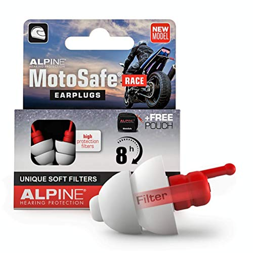 Alpine MotoSafe Race Motorcycle Earplugs for Wind Noise Reduction - Ultra Soft Comfort Filter...
