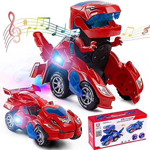 siyushop Dinosaurios Toys Coche Transformación del Dinosaurio LED Deformación del Automóvil Robot De Coche Juguetes para Niños ( Color : Red )