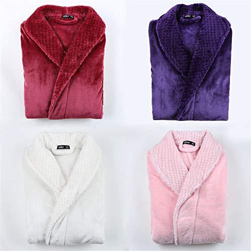 Costura franela pareja camisón masculino y femenino largo grueso XL bata de baño pijamas otoño e invierno rosa XL