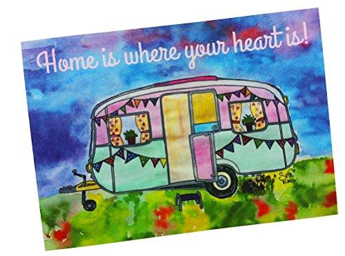 AnneSvea Wohnwagen Postkarte 2 Stück Home is Where My Heart is A6 Deko Trailer Postcard Urlaubsgrüße Camper Camping
