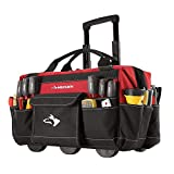 Husky Rolling Tool Tote 18 In. - 600 Denier Spun Tuff, Rolling Tool Tote Bag with Telescoping Handle & Wheels, 18 Pockets, Dual Zipper Top & 2 Tape Measure Loops with TEJAL Cowhide Leather Work Gloves