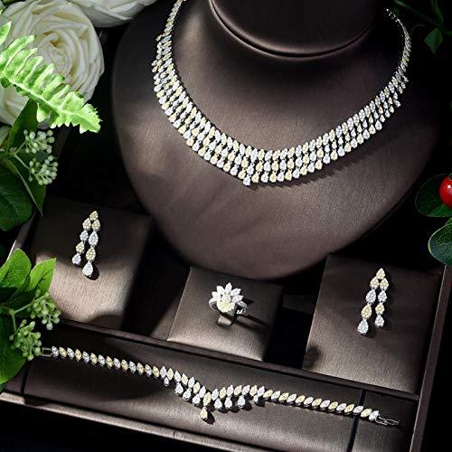 LIYDENG Joyas Conjuntos de joyería Nupcial de la Boda de la Boda de Zircon de Moda para Las Mujeres Pendientes y Collar Set Bijoux Mariage Parure (Color : 2 Tones)