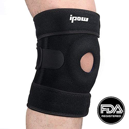 Ipow FDA Registered Open Patella Knee Brace Support Stabilizer For Arthritis, ACL, LCL, MCL, Meniscus Tear Injury Recovery - Non-Slip Breathable Adjustable Neoprene Wrap