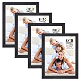 Langdon House 8x10 Picture Frame Set (Black, 4 Pack), Sleek & Classic, Fabulous Black 8x10 Frames, Swivel Tabs, Table Top Easel and Wall Hanging Hooks Included, Tranquility Collection