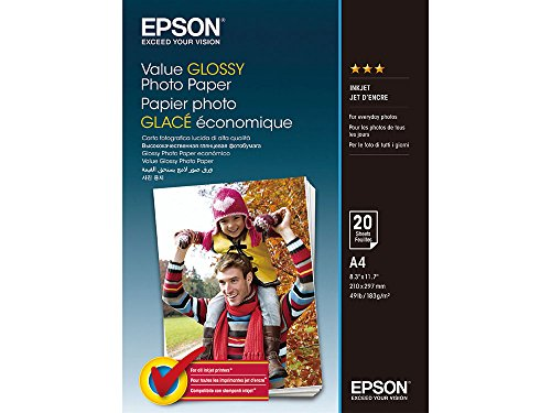 Epson Value Glossy Photo Paper - A4-20 Hojas - Papel fotogr fico (Brillo, 183 g/m, A4, 20 hojas, Expression Premium XP-900 -...