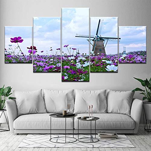 MMLFY 5 opeenvolgende schilderijen canvas schilderij zee landschap molen 5 stuks muurkunst modulaire papierdruk ruimte decoratie modulaire afbeelding No Frame 30 x 40 30 x 60 30 x 80 cm.