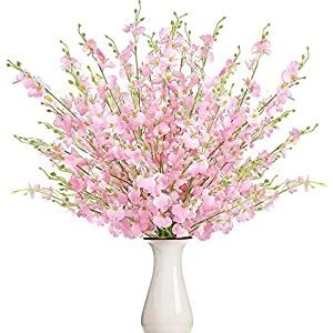BUSSLANDY Faux Orchid Flowers Artificial Dancing Lady Orchids 10 Pcs Silk Fake Flower Real Touch for Wedding Home Party Decor Butterfly Flower Arrangement(Pink)