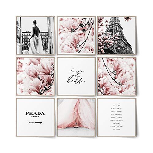 BLCKART Infinity Rose Love - Juego de 9 cuadros con diseño de magnolias de doble cara, póster decorativo para el salón, 9 x 20 x 20 cm, sin marco, color rosa