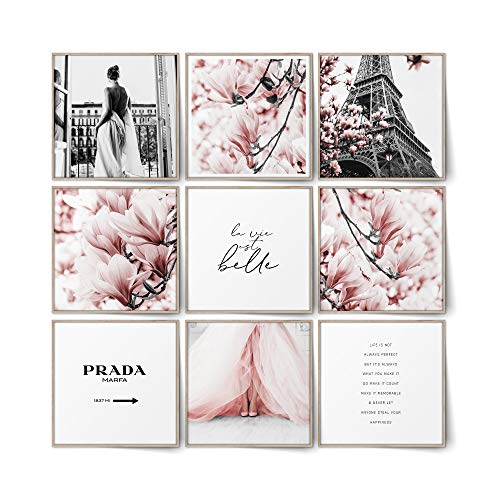BLCKART Infinity Rose Love - Juego de 9 cuadros con diseño de magnolias de doble cara, póster decorativo para el salón, 9...