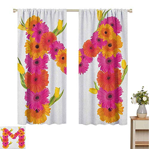 Blackout Curtains Letter M,Pink and Orange Gerbera Flowers and Tulips in Full Blossom Fresh Spring,Hot Pink Orange Green,Darkening and Thermal Insulating Draperies 52'W x 63'L