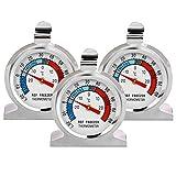 Thlevel Termometro da Frigo in Acciaio INOX Termometro per Congelatore e Frigorifero con Gancio per...