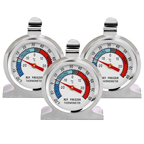 Thlevel Termometro da Frigo in Acciaio INOX Termometro per Congelatore e Frigorifero con Gancio per Appendere per Casa, Ristoranti, Bar (3 Pezzi)