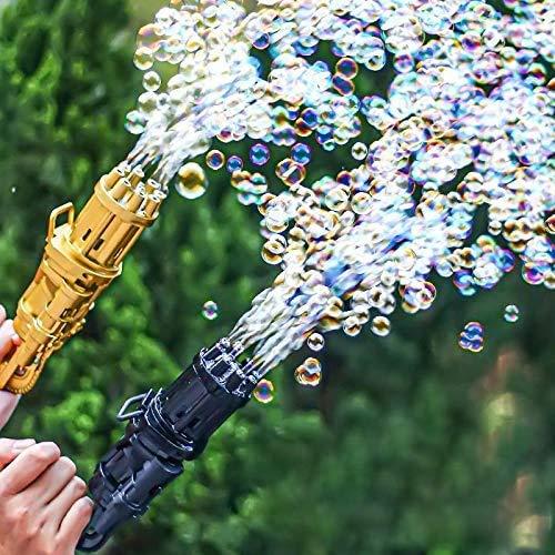 DJRH Gatling Bubble Machine 2021 Cool Toys & Gift, Eight Hole Automatic Bubble Maker Pistola de Burbujas para niños para Actividades de Verano al Aire Libre (Negro)